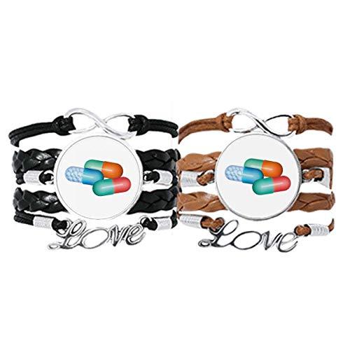 DIYthinker Pillenkapsel Gesundheitsprodukte Muster Armband Handschlaufe Lederseil Armband Doppelset Geschenk