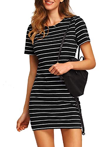 Floerns Women's Casual Short Sleeve Striped Bodycon T-Shirt Dress A-Black and White M
