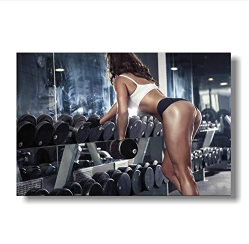 Frauen Fitness Bodybuilding inspirierende Kunst Seide Poster Fitness Übung Wandbild Gym-B_60x90cm