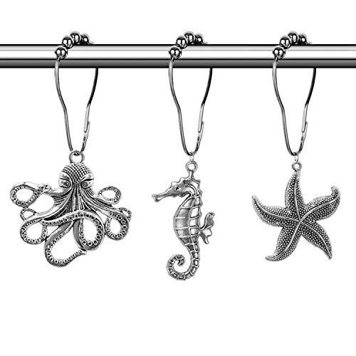 CHICTIE Rustproof Shower Curtain Hooks Rings Vintage Mermaid Decorative Roller Ball Hooks for Bathroom Rods Curtains Liners (Starfish + Seahorse + Octopus)