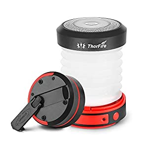 Thorfire LED Camping Lantern Lights Hand Crank USB Recgargeable Lanterns Collapsible Mini Flashlight Emergency Torch Night Light Portable Survival Light for Hurricane/Outages/Camping/Hiking/Tent-Black