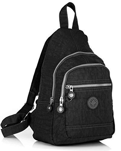 Leichter Mini Rucksack Für Mädchen Und Damen sportlicher Daypack für Freizeit Fahrrad Sport Wandern Reise 6 Farben (Schwarz)