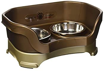 Neater Feeder Deluxe Cat  Bronze  - Mess Proof Elevated Bowls No Tip Non Slip Stainless Steel Cat Food and Water Dish Stand
