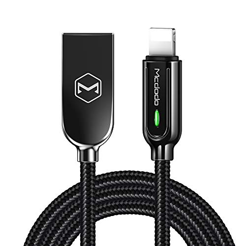 Mcdodo Power Off/On Smart LED Auto Disconnect and Auto Recharge Nylon Braided Sync Charge USB Data 6FT/1.8M Cable Compatible with Phone Xs MAX XR X 8 8 Plus 7 7 Plus 6s List Below (Black, 6FT/1.8M)
