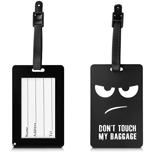 kwmobile Kofferanhänger Adressanhänger Koffer Tag - Namensschild Schulranzen Gepäck Anhänger - Reise Gepäckanhänger Don't Touch My Baggage