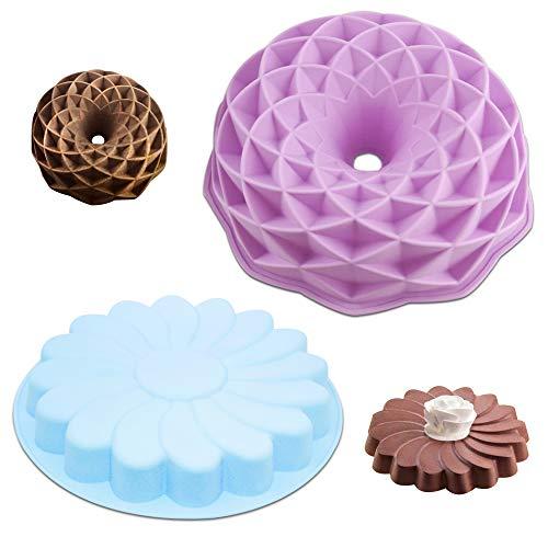 2 Pack Silicone Cake Pan, SENHAI Large Round Bread Pie Flan Tart Mold, Whirlwind petal & Bird's Nest Shape Non-Stick Baking Trays for Birthday Party DIY - Purple, Blue