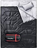 Ohuhu Double Sleeping Bag with 2 Pillows, Waterproof Lightweight 2 Person Adults Sleeping Bag for...