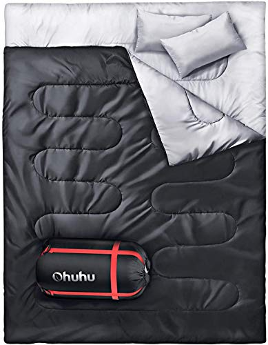 Ohuhu Double Sleeping Bag with 2 Pillows,...