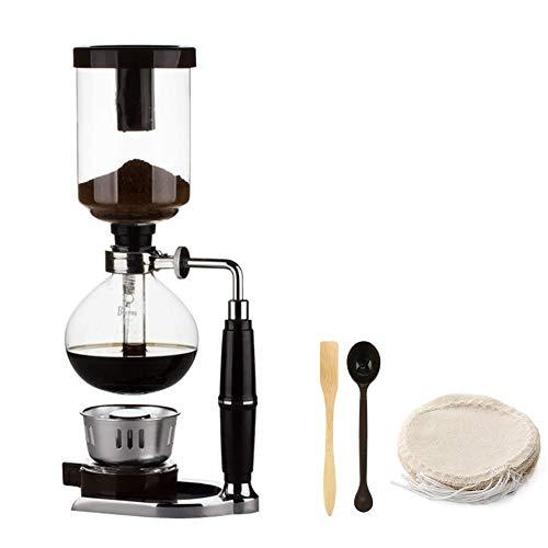 Cafetera sifón estilo japonés para tetera sifón, cafetera de vidrio tipo cafetera tipo filtro kahve makinas 5 tazas, plata