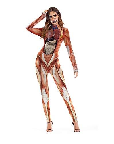 Halloween Kostüm Party Ladies Onesies, Bühnenkostüme, Realistische Ergonomische Drucke, Neuheiten Strumpfhosen, Outdoor-Strumpfhosen, Sexy Kostüme Für Maskerade,M
