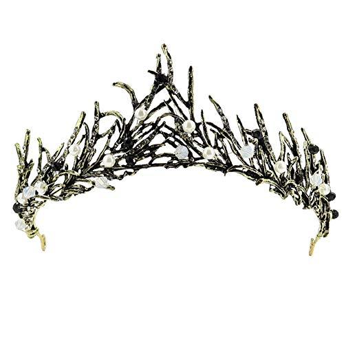 TOCESS tiara negra barroca corona princesa reina accesorios para el cabello para mujeres niñas novias dama cristal diadema, Rhinestone Royal Tiara perlas moda para fiesta de graduación disfraz cisne