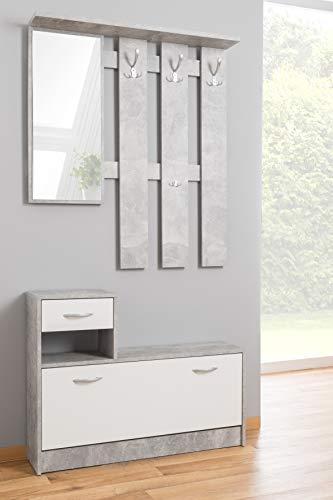 Dmora - Mueble de Entrada con Espejo y Zapatero, Entrada con cajón, Madera, 100 x 25 x 180 cm, Blanco y Cemento, único