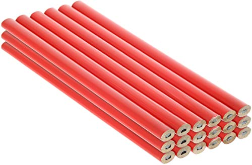 com-four® 18x Zimmermannsbleistifte, ovale Holz-Bleistifte mit Einer Strichbreite von 1-2 mm, unangespitzt - Länge 175 mm
