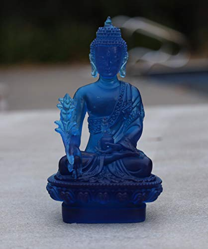 DharmaObjects Tibetan Translucent Healing Medicine Buddha Statue (5 Inches, Crystal Blue)