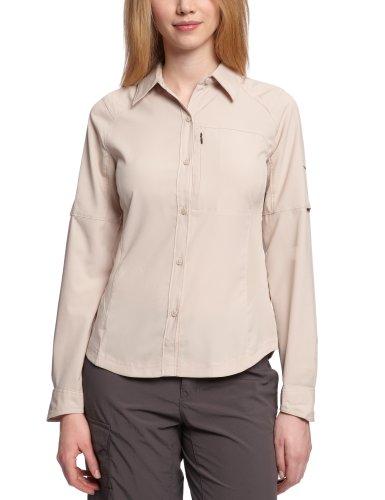 Columbia Langarm-Wanderhemd für Damen, Silver Ridge Long Sleeve Shirt, Nylon, beige (fossil), Gr. L, AL7079