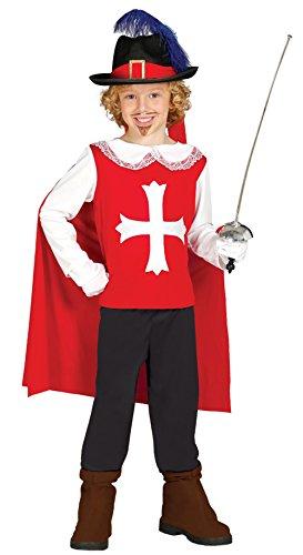 Guirca - Disfraz de mosquetero con traje y capa, para niños de 5-6 años, color rojo (85688)