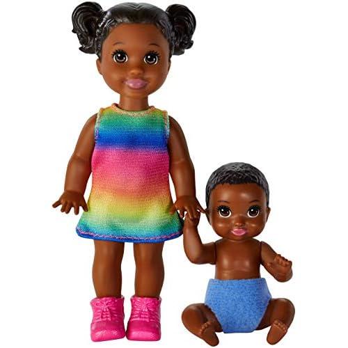Barbie Skipper Babysitter Playset Bambole Afroamericane, Due Bambole con Accessori, Giocattolo per Bambini 3+ Anni, GFL33