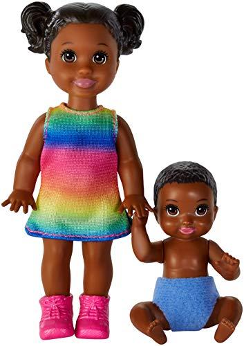 Barbie Skipper Figura de Niño Pequeño y Bebé Muñecas Skipper Canguro de Bebés de Barbie, Conjunto de 2 Hermanos (Mattel GFL33) , color/modelo surtido