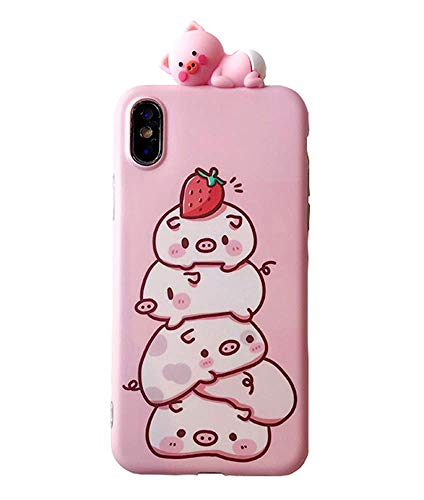 UnnFiko Piglet Phone Case Compatible with iPhone 7 Plus/iPhone 8 Plus, Cute 3D Cartoon Animal Soft Silicone Protective Case for Girls Women (Strawberry Piglet, iPhone 7 Plus / 8 Plus)