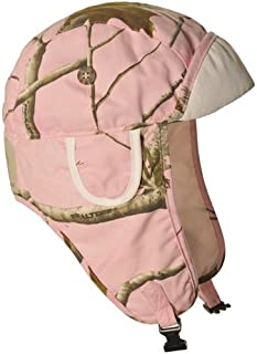 Pink Realtree Lightweight Canvas Aviator Pilot Hat Real Rabbit Fur Trapper Hunting Cap, XX-Large