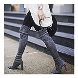 Botas de Mujer Botas sobre la Rodilla con Cordones Zapatos de tacón Alto Sexy Mujer Botas Altas de Mujer Botas 35-43 (Color : Gray, Shoe Size : 37)