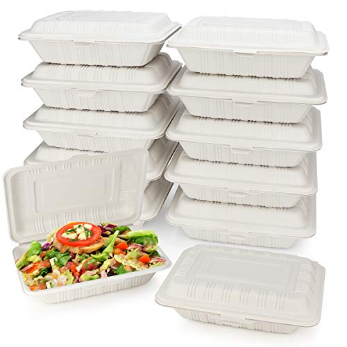 HeloGreen [125 Count] Eco Friendly Take Out Food Containers [7' x 5',1-Comp] - Non Soggy, Leak Proof, Heavy-Duty Quality, Disposable To Go Containers for Food, Cornstarch, Microwave Safe