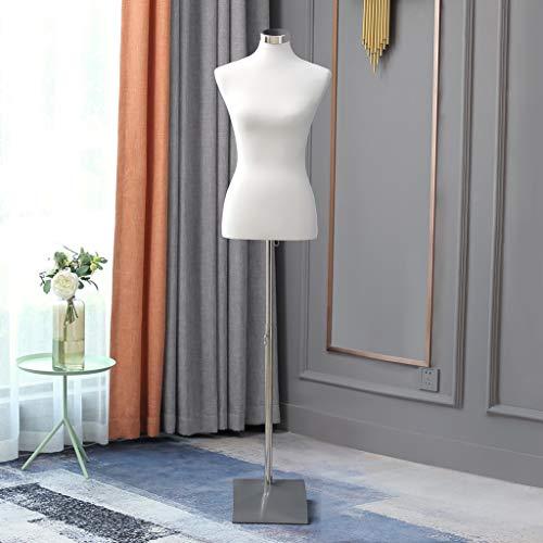 Loywe Manichino da sartoria, busto Torso da Donna per vetrine, con altezza regolabile Base quadrata in metallo Gr. 36/38 Bianca LW6020W