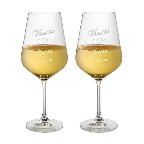 AMAVEL Set 2 Calici da Vino Rosso con Incisione - Bicchieri Personalizzati con Nomi e Data - Motivo Cuori - Bicchieri per Sposi - Idee Regalo di Nozze o Anniversario - Bomboniere