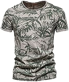 Fbnzmluqdx Tshirt for Men Men Wild Printing Plus Size T Shirt Summer Round Collared Top Tees Short Sleeves Oversized Tee S...