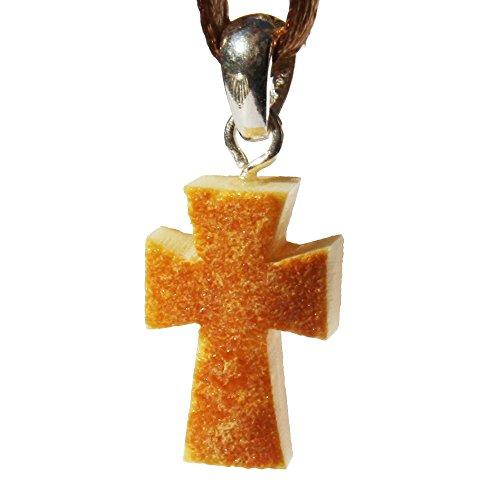 Ciondolo a forma di croce in ambra baltica grezza, con raccordi in argento sterling