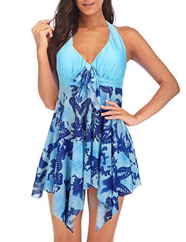 FeelinGirl Mujer Tankini de Dos Piezas Halterneck Dobladillo Asimétrico Estampado Floral Bañador Sexy Elegante Deportivo Talla Grande Flores-Azul S:Talla 38