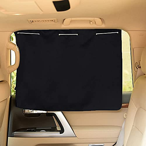 PONY DANCE Car Curtains Foldable Blocking Out The Light/Sun Protect Endothelium Seat Portable Auto Accessories Panels Drapes, 27.5' W by 20.5' L, Curtain-27.5' W x, Black, 3 Sq Ft