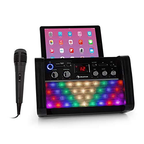 auna DiscoFever 2.0 Karaokeanlage mit Bluetooth, Multicolor Disco-LED, CD-/CD+G-Player, 2 Mikrofon-Eingänge, Music2Light-Funktion, Tablet- und Smartphone-Halterung, inkl. Handmikrofon, schwarz