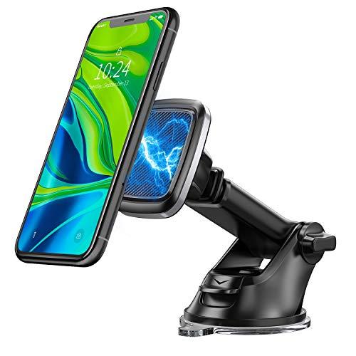 Bovon Soporte Móvil para Coche, 360° Rotación Magnético Salpicadero Soporte Móvil para Coche con Brazo Ajustable, Soporte Telefono Coche con Ventosa Fuerte Compatible con iPhone, Samsung, HTC, etc