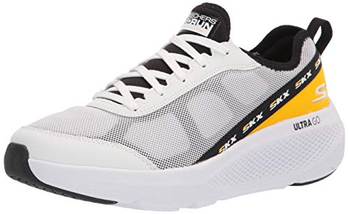 Skechers Men's GOrun Elevate-Lace Up Performance Athletic Running & Walking Shoe Running, White/Black, 10.5