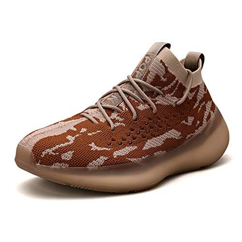 Zapatillas de Deporte para Mujer Hombre Zapatillas de Correr Transpirables - Ligeras cómodas y Resistentes al Desgaste Amortiguación Tenis Sport Air Outdoor G53 Marrón Claro EU 46 Light Brown