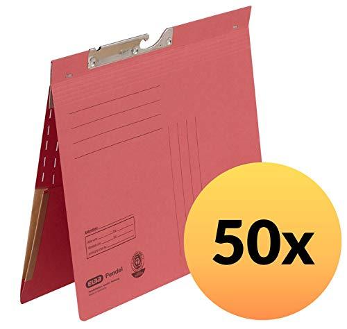 Preisvergleich Produktbild ELBA 100570026 Pendelhefter 50er Pack Tasche im Rückendeckel mit kaufmännischer Heftung 320 g / m² Manila-Karton rot