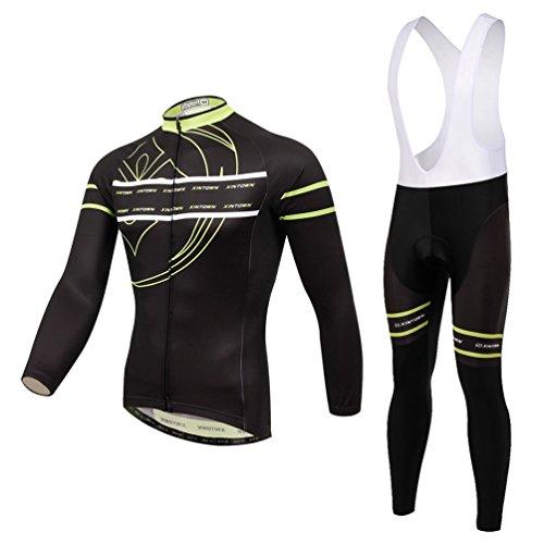 Baymate Unisexe Respirant Vêtements de Cyclisme Ensemble Maillot de Manches Longues + Pantalons Randonnée Hiver Vélo Vêtements Jaune M