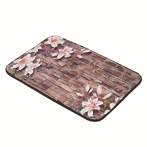 OLUMBO Punto Alfombra de adoquines esteras de salón de la Puerta de la Cocina baño Dormitorio Puerta absorbentes alfombras Antideslizantes HD (Color : Flower 3D)