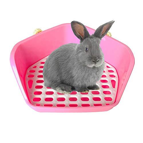 kathson Rabbit Litter Box, Small Animal Potty Trainer Corner Pet Toilet Litter Bedding Box Pan for...