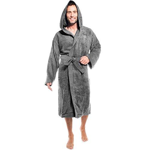 aqua-textil Föhr Albornoz Capucha Uni Largo Bolsillos de Parche Costuras Decorativas Señoras Caballeros Unisex 100% Algodón XL Antracita