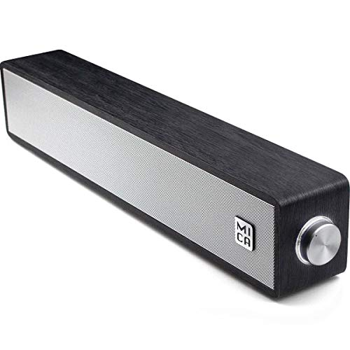 MICA Computer Speakers, Wired Computer Sound Bar, Wooden Mini Soundbar, USB Powered PC Speakers 3.5mm AUX & PC Input (Upgrade), Black (M30i)