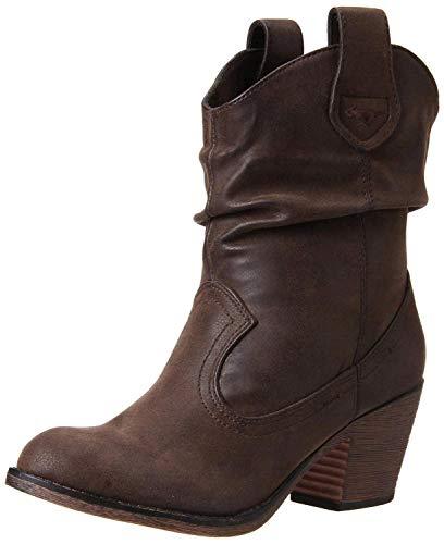 Rocket Dog Women's Sheriff Vintage Worn PU Western Boot, Brown, 7.5 M US