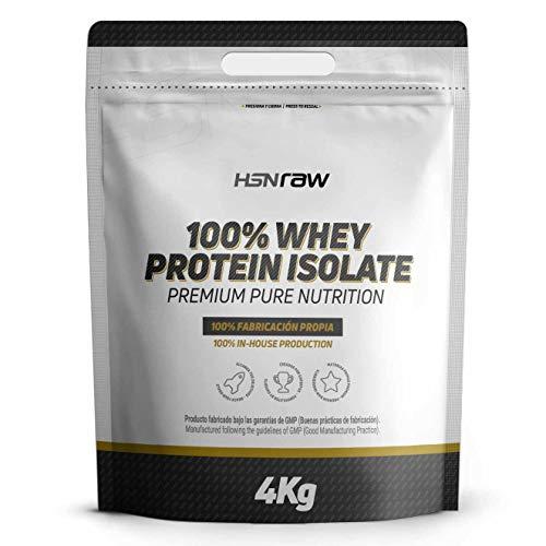 Proteína Aislada de Suero de HSN Raw | 100% Whey Protein Isolate | Proteína Sin Sabor en Polvo para Ganar Masa Muscular, Recuperador Muscular, Rica en BCAAs y Glutamina, Vegetariano, Sin Soja, 4Kg