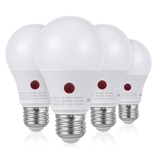 DEWENWILS 4-Pack Dusk to Dawn Light Bulb Led Outdoor Lighting, Smart Automatic On/Off Photocell Sensor A19 E26 Porch Light Bulb, 2700K Soft Warm White, 9W (60W Equivalent), 800 LM, UL Listed