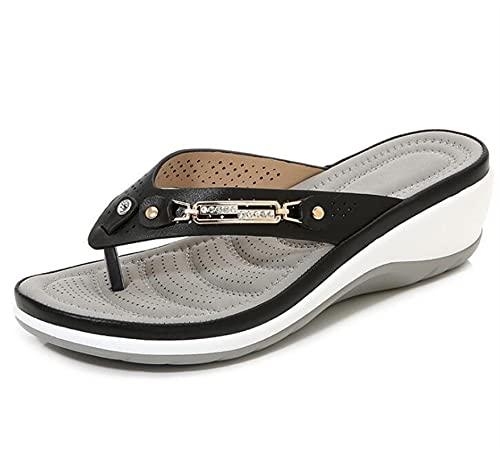 YUXINYAN Sandali Donna Pantofole da Donna, Pantofole a Bottone in Metallo, Sandali con Tacco a Cuneo, Piattaforma Casual Flip-Flops Infradito Donna (Color : Black, Shoe Size : 35)