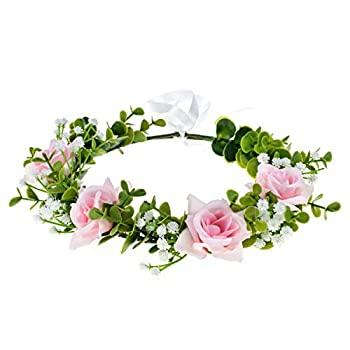 Love Sweety Succulent Flower Crown Rose Headband Greenery Artificial Orchid Leaf Halo Wedding  Rose Pink