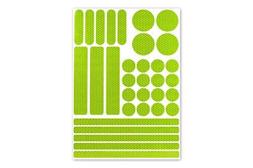 [Weiss, Rot, Blau, etc.] 33-teiliges Leuchtaufkleber-Set – versch. Farben zur Auswahl – Reflektoren für Kinderwagen, Fahrrad, Ranzen, Rollator, Helme (fluor-lime)