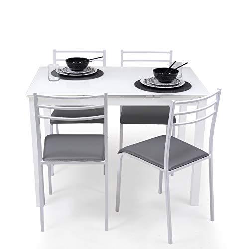 Homely Conjunto de Mesa de Cocina Extensible 110/140/170x70 cm+ 4 sillas Paris White