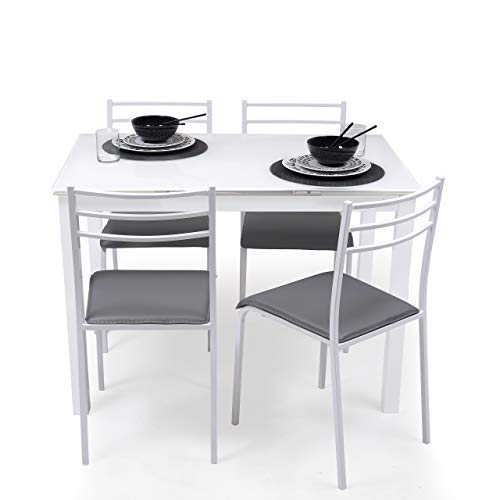 Homely Conjunto de Mesa de Cocina Extensible 110/140/170x70 cm+ 4 sillas Paris White